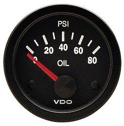 VDO 350104 Vision Style Electrical Oil Pressure Gauge 2 1/16