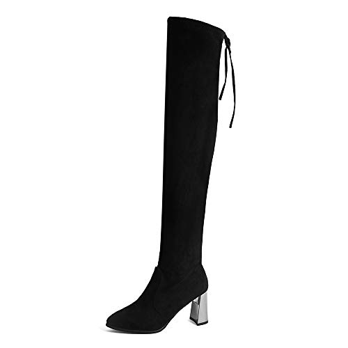 DAYSEVENTH Ladies Stretch Faux Slim High Boots Sexy Knee High Boots High Heels Shoes 6-black