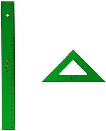Faber-Castell - Pack regla técnica, 30 cm + Escuadra técnica, 28 cm: Amazon.es: Oficina y papelería