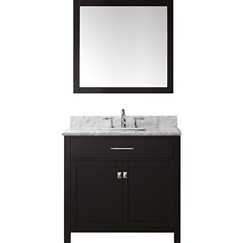 Virtu USA MS-2036-WMSQ-ES-002 Not Applicable Caroline 36 inch single Bathroom Vanity In Espresso with Marble Top & Square Sink with Polished Chrome Faucet & Mirror