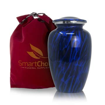Classic Dark Sky Blue Cremation Adult urn - Memorial Funeral Vase with Secure Lid Cremation Urn for Human Ashes Adult