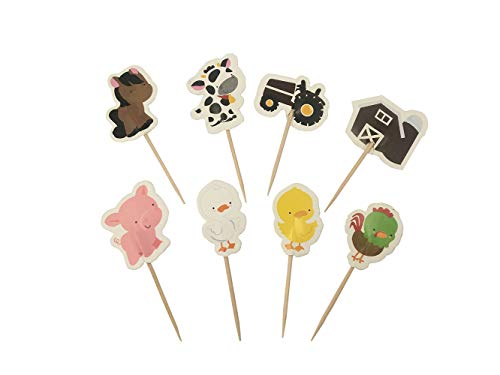 Babycola's Mum 48pcs Farm Zoo Animal Cake Cupcake Appetizer Decorations Toppers Picks]()