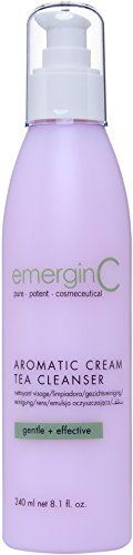 emerginC - Aromatic Cream Tea Cleanser, Soothing Gentle Face Wash with Green Tea, Chamomile + Rose (8.1oz / 240ml)