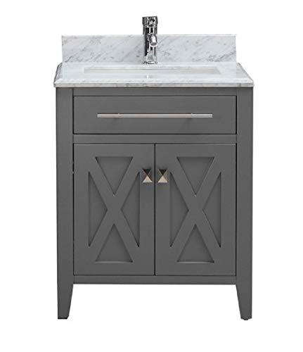 Traditional Freestanding Gray Bathroom Vanity with Italian Carrara Marble Countertop | Modern Farmhouse Vanity Sink Combo | 24 Inch -  - bathroom-vanities, bathroom-fixtures-hardware, bathroom - 31FZHxxpJ9L -