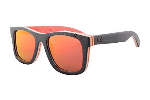 SHINU Wood Skate Polarized Sunglasses Handmade Wooden Wayfarers - Sunglasses Skate