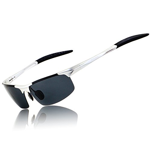 Ronsou Men Sport Al-Mg Polarized Sunglasses Unbreakable for Driving Cycling Fishing Golf silver...
