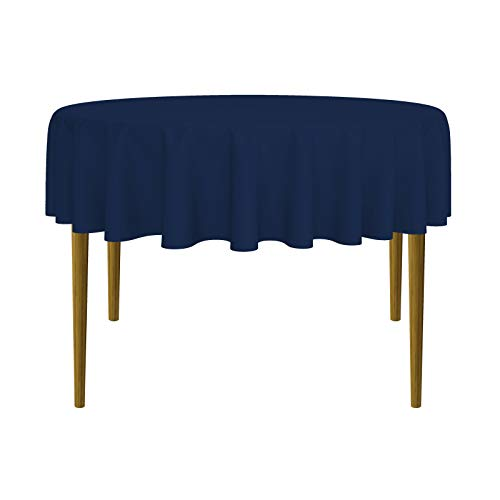 Lanns Linens - 70 Round Premium Tablecloth for Wedding/Banquet/Restaurant - Polyester Fabric Table Cloth - Navy Blue