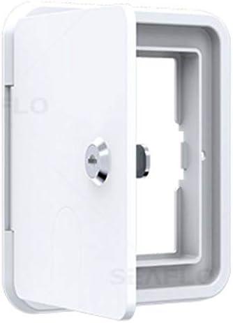 Seaflo Low Profile Square Cable Hatch 6 x 6.5 White RV Camper Electric Cord Cover Lock