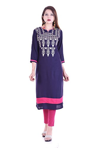 Chichi Indian Women Kurta Kurti 3/4 Sleeve Medium Size Plain with Embroidered Neck Straight Dark Blue Top by CHI
