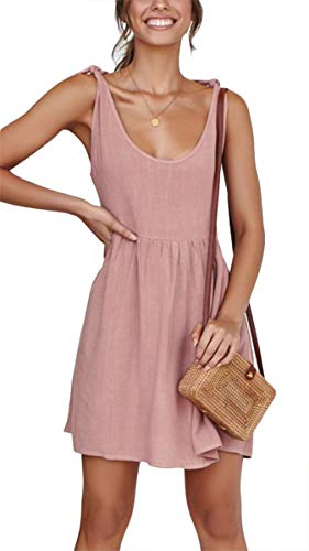 - Women Casual Summer Beach Mini Dress Sleeveless A Line Tie Strap Sundress Pink L