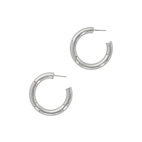 Chunky Sterling Silver Rings - Columbus Rhodium Plated Chunky Lightweight Hypoallergenic Thick Hoop Earrings (40mm Silver)