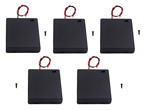 WAYLLSHINE 5PCS ON/OFF Switch With Cover 4x 1.5V AA Battery Holder Battery Case Battery Box with 5.5 Black Red Wire Leads