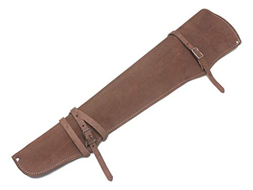 Rifle Scabbard Saddle (Buckskin Colored Roughout Leather Rifle Scabbard Western Made in USA Horse Tack)