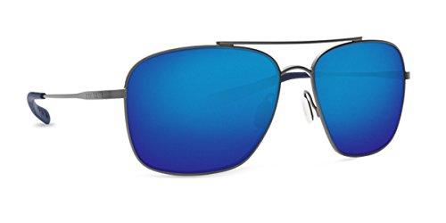 Costa Del Mar 580p CANAVERAL Brushed Gray Sunglasses, Blue Mirror - Del Sunglasses Mar Coasta