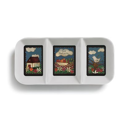 (Table Talk Sweet Table Prayer Melamine Divided Serving Tray, 3 Sections)