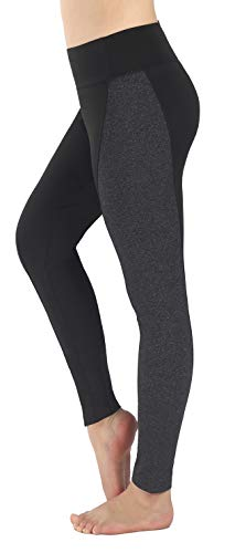 Baseball Fitted Womens Training (Neonysweets Womens Running Yoga Pants Workout Leggings with Pocket Black Gray L)
