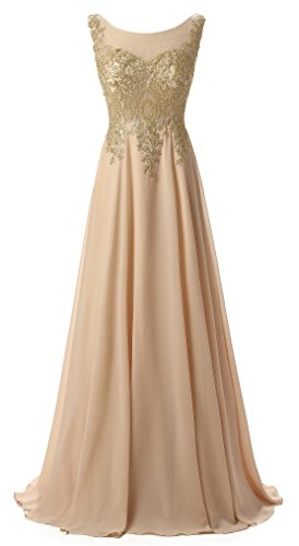 Butmoon Women's Elegant Chiffion Long Appliques Evening Gown