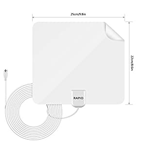 One Year Warranty Rapio 1080P Digital HDTV Best Indoor TV Antenna White 50 Miles Range, Super Thin, 16.5ft Coax Cable With Detachable Amplifier Signal Booster