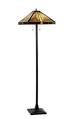 Chloe Lighting CH33359MR18-FL2 Innes Tiffany-Style Mission 2-Light Floor Lamp with 18-Inch Shade