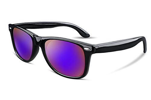FEISEDY Great Classic Polarized Sunglasses Men Women HD Lens B1858 (Dark Purple Mirrored Lens, ()