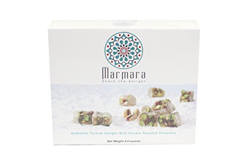 Marmara Authentic Mini Turkish Delight with Double Roasted Pistachio / Sweet Confectionery Gourmet Gift Box Candy Dessert