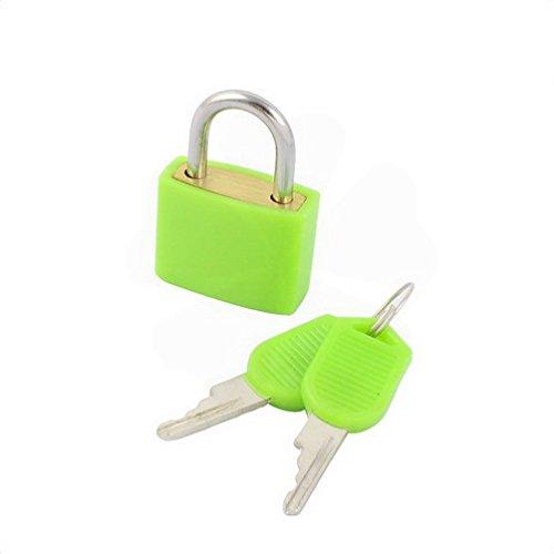 Padlocks Plastic Shell Outdoor Travel Luggage Bag Lock Mini Padlock 23mm Green w Keys by Fuxell