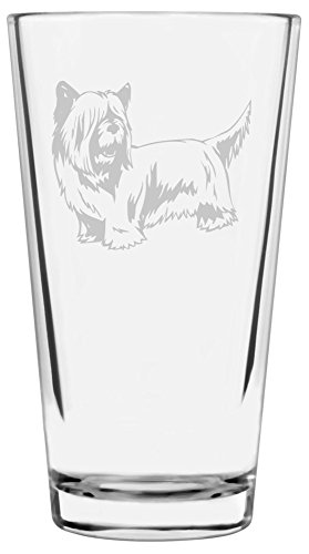 Skye Terrier Dog Themed Etched All Purpose 16oz Libbey Pint Glass