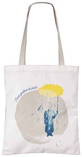 Clairefontaine 3gocce di pioggia 83314C Borsa Shopper di dimensione 35x 40cm in cotone poliestere/Fodera poliestere Sfondo bianco
