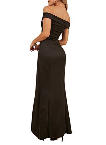 f Shoulder Evening Dress Sweetheart Neck Side Slit Dress Black L 12 14 ()