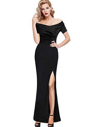 Portrait Party Dress (VfEmage Womens Vintage Ruched Off Shoulder Formal Evening Party Maxi Dress 9700 BLK 16)