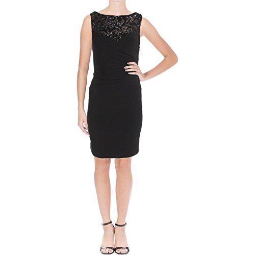 LAUREN RALPH LAUREN Womens Sterlettina Embellished Jersey Evening Dress Black 0
