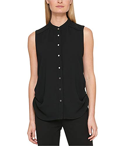 DKNY Women's Sleeveless Crepe Ruched Button-Down Top Black 6 Dkny Button Down Shirt
