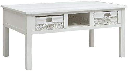 Te Koop Tidyard Salontafel met 2 opvouwbare handgeweven manden en 1 schap paulowniahout en stof banktafel einde bijzettafel woonkamer, huis meubels wit 99,5 x 60 x 48 cm (B x D x H)  nl8cxzp