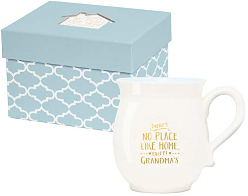 - C.R. Gibson White and Blue ''There's No Place Like Home Except Grandma's'' Porcelain Coffee Mug, 16 fl. oz.