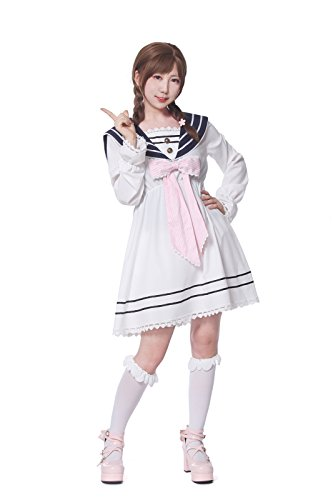 Lemail Girls Sailor School Uniform Chiffon Long Sleeve Japanese Pleated Mini Dress Pink M by Lemail wig (Image #4)