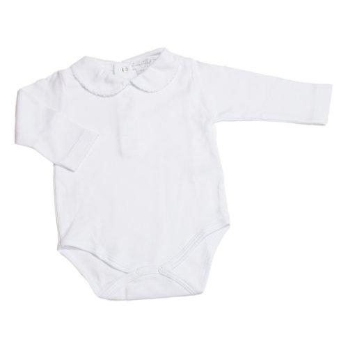 Kissy Kissy - Basic LS Bodysuit Bebe Collar - White-0-3mos