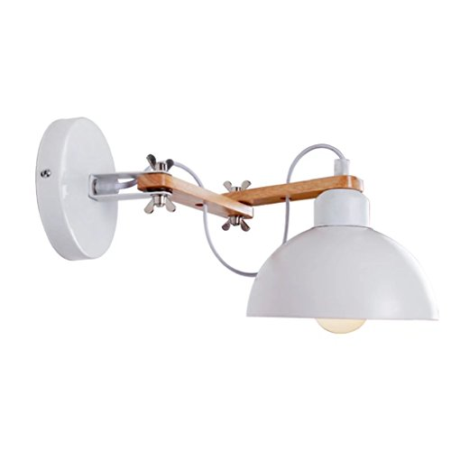 White Modern Simple Home Wall Lamp Wooden Iron Lampshade Indoor Wall Lights Adjustable Swing Arm Wall Sconces