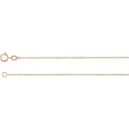 14K Rose Gold 1mm Diamond Cut Cable 7