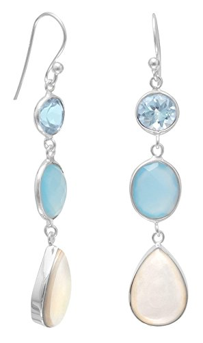 Sterling Silver French Wire Earrings, Blue Topaz/Chalcedony/Mother of Pearl, 1-7/8 inch (Chalcedony Earrings Topaz Blue)