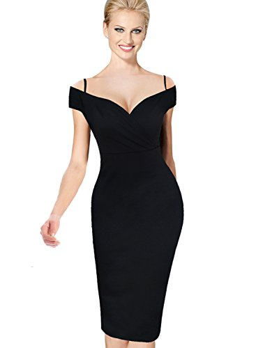 VfEmage Womens Sexy Off Shoulder Cocktail Party Casual Bodycon Sheath Dress 2606 Black M
