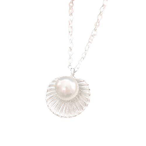 Rape FlowerSimple Clavicle Shell Pearl Pendant Necklace Ladies Jewelry Gift for Girlfriend (Silver)