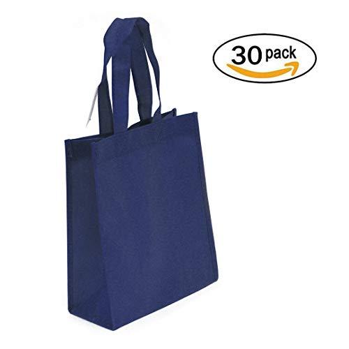 (30-Pack Non-woven Reusable Tote Bags, Heavy Duty Non-woven Polypropylene, Small Gift Tote Bag, Book Bag, Non Woven Bag Multipurpose Art Craft Screen Print School Bag (Navy Blue, Set of 30))