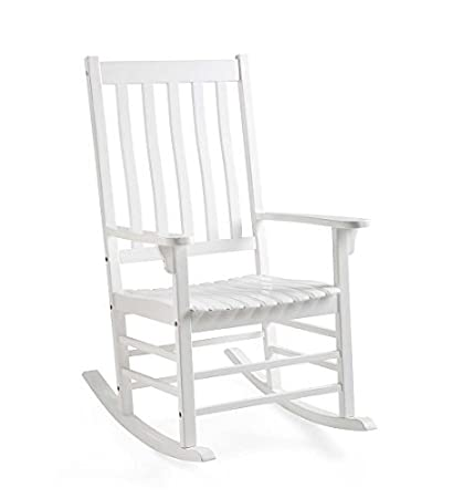 Astounding Plow Hearth 62A76 Wh Slatted Eucalyptus Wood Porch Rocking Chair White Paint Short Links Chair Design For Home Short Linksinfo