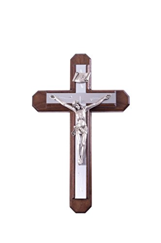 Sick Call Set Walnut Wood Crucifix with Metal Inlay Cross and Pewter Corpus, 13 Inch