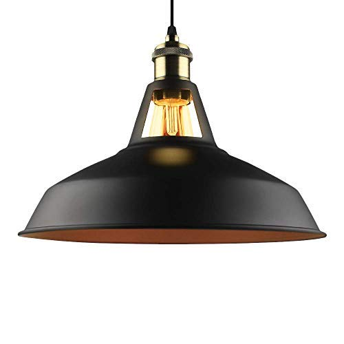 B2ocled Retro Industrial Black Pendant Lighting,Small Barn Farmhouse Pendant Light E26/E27 Base for Kitchen Island, Metal Aluminum Shade Ceiling Hanging Lights, 10.63 Inch ()