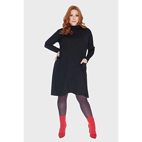 Vestido Canelado Golinha Plus Size Preto-48/50