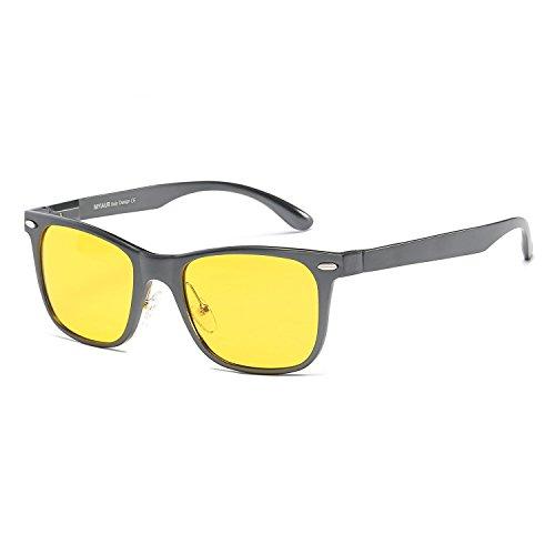 MYIAUR HD Night View Vision Yellow Lens Anti-glare Sunglasses Men Women for Driving (gun/ - Of What Kind Sunglasses