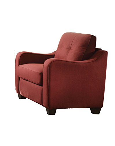 Acme Furniture 53562 Cleavon II Chair, Red Linen (Acme Furniture Cleavon Ii Red Linen Chair)