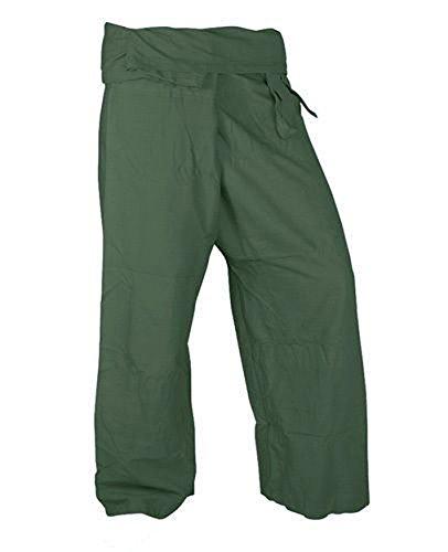 Beautiful Olive Pants Rayon Fabric Yoga Trousers Thai Fisherman Pants Free Size by Thai cotton
