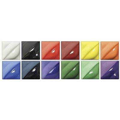 AMACO Velvet Semi-Translucent Underglaze Classroom Pack, Assorted Colors, Set of 12 by AMACO